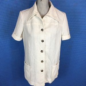 Vintage 60s 70s Button Down Shirt Short Sleeve